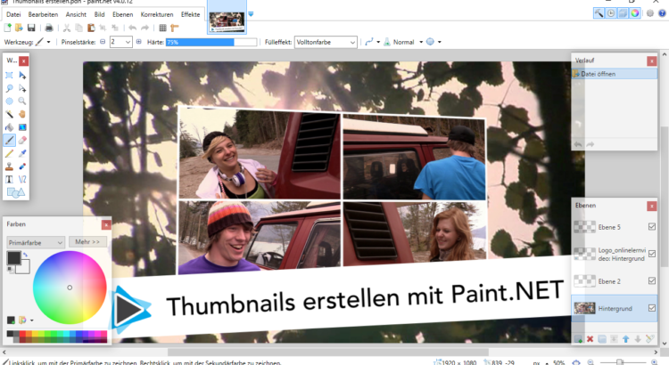 Thumbnails erstellen mit Paint NET für Youtube und Screenshot aus Pinnacle Studio Deutsch Video Tuto