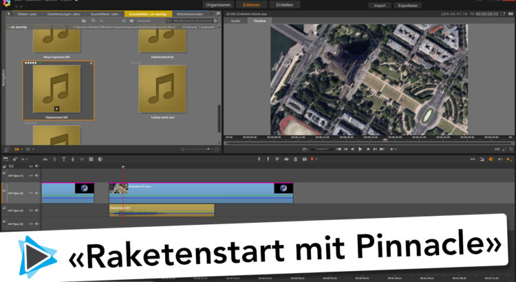Erdbeben und Raketenstart mit Google Earth Aufnahme in Pinnacle Studio 20 Deutsch Video Tutorial