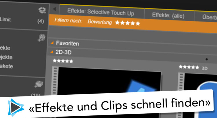 Pinnacle Studio 20 Deutsch Favoriten festlegen und bewerten mit Sternen Video Tutorial